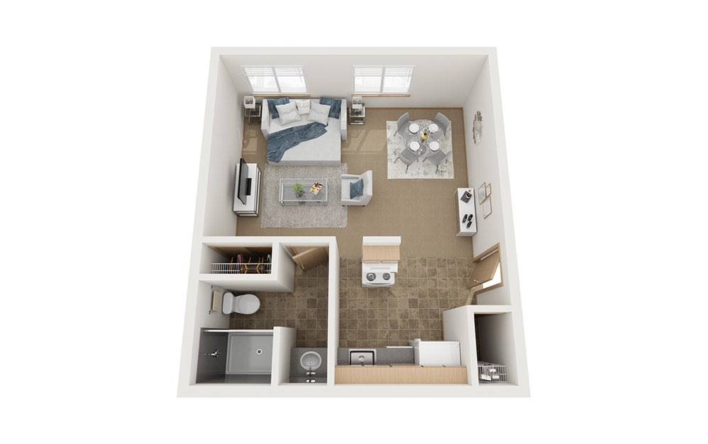 A - Studio floorplan layout with 1 bath and 470 square feet.