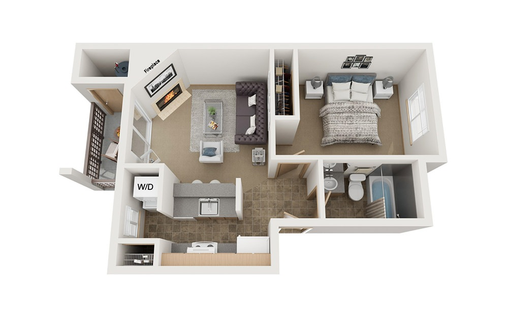 A1 - 1 bedroom floorplan layout with 1 bath and 530 square feet.