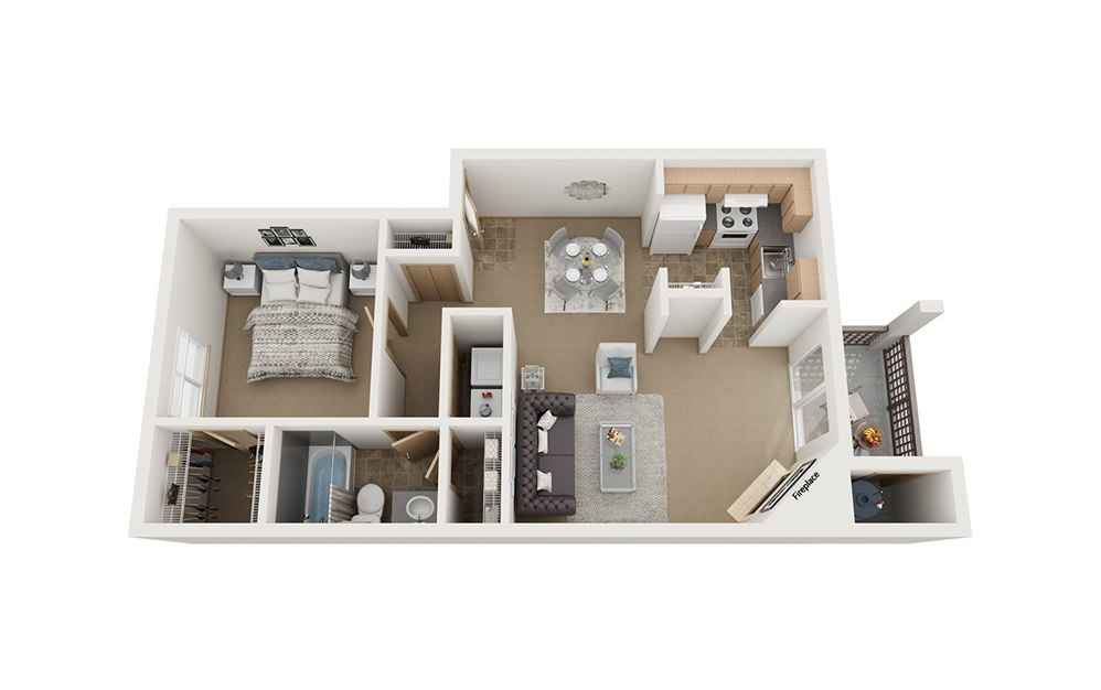 A2 - 1 bedroom floorplan layout with 1 bath and 750 square feet.