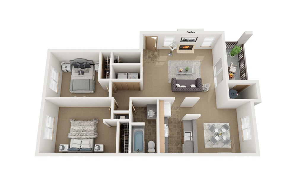 B1 - 2 bedroom floorplan layout with 1 bath and 920 square feet.