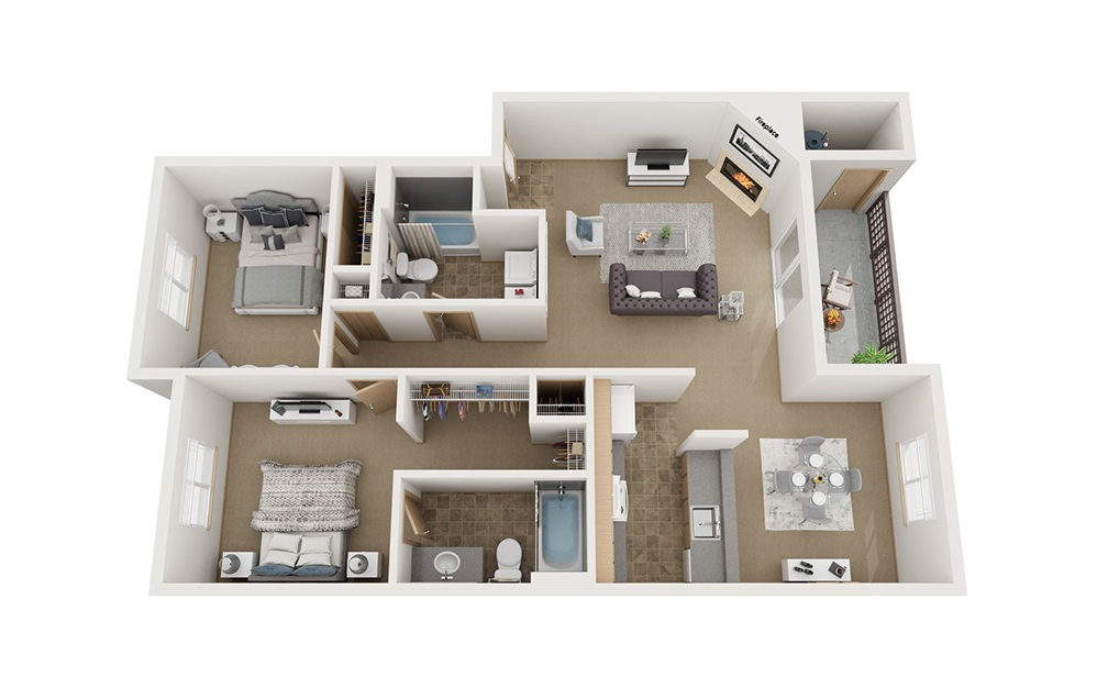 B3 - 2 bedroom floorplan layout with 2 baths and 980 square feet.