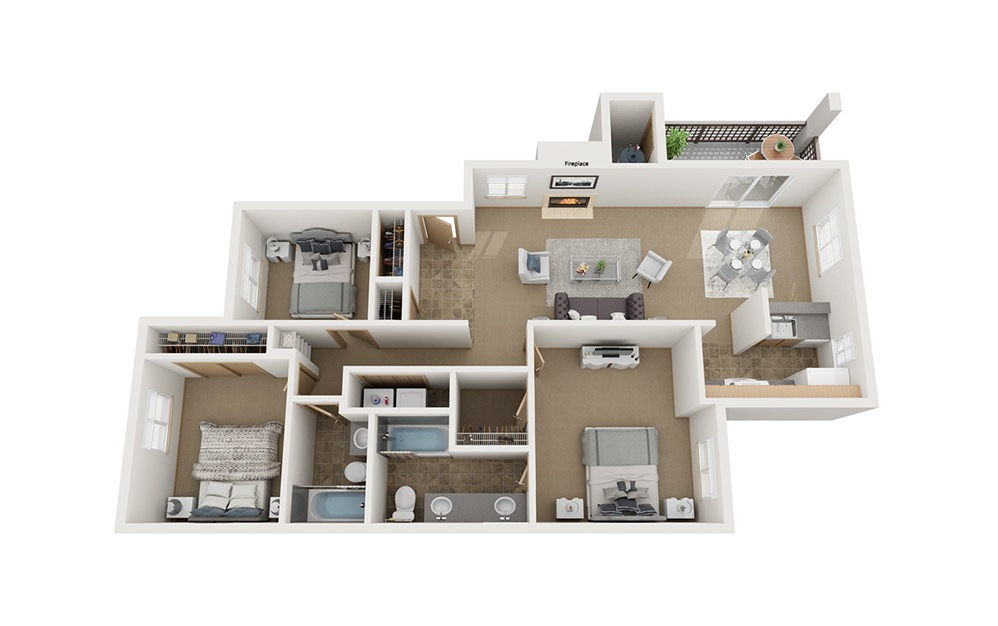C2 - 3 bedroom floorplan layout with 2 baths and 1220 square feet.