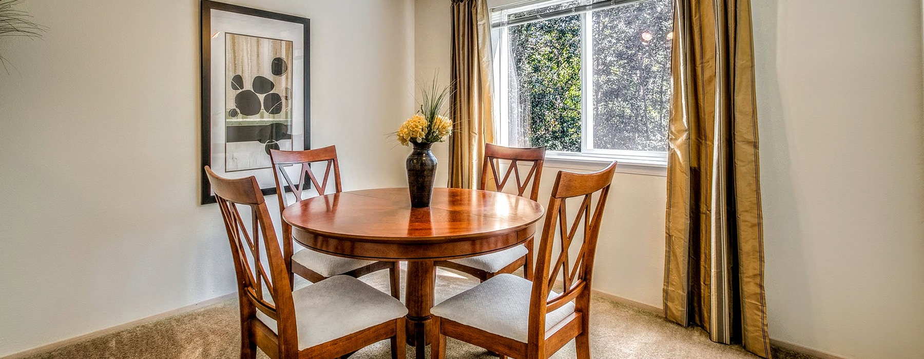 open dining room with large window